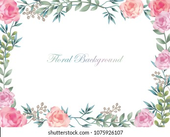 Watercolor flower background/frame with text space, vector illustration.