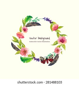watercolor flower frame. vector illustration