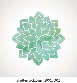 Watercolor flower in turquoise color. Vector decorative element. Logo template