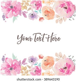 Watercolor Flower Vector Background Border