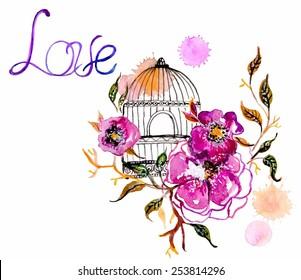 Watercolor flower for wedding invitation design, save the date illustration or Valentine's day design