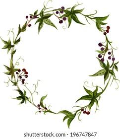 watercolor, flower wreath
