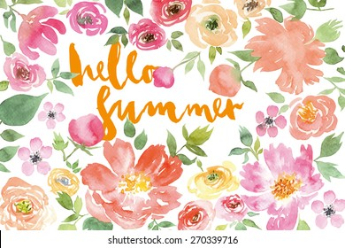 Watercolor flower wreath. Illustration. Hand lettering. Handmade. Painting. Summer. Flowers.