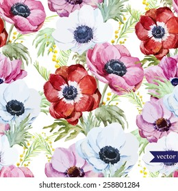 watercolor, flowers, anemones, mimosa, pattern
