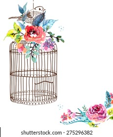 Watercolor flowers and bird cage for Happy Birthday design or wedding invitation design, save the date illustration or Valentine's day design, VECTOR