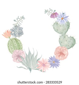 Watercolor flowers and cactus wreath. Floral print