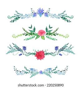 Watercolor  flowers compositions set.