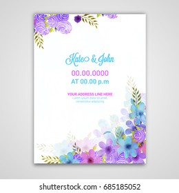 Watercolor flowers decorated background with space for your text, Can be used as greeting card or invitation card design.