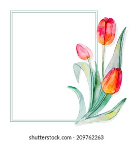 watercolor flowers. frame with space for text. Editable design element. vector
