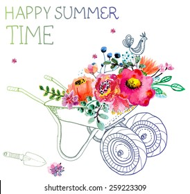 Watercolor flowers and garden trolley over white, beautiful summer illustration, Vector