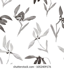 Watercolor flowers hand drawing Seamless pattern with Chinese art Vector illustration of isolated orchids