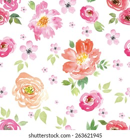 Watercolor flowers. Seamless pattern. Vector. Illustration.