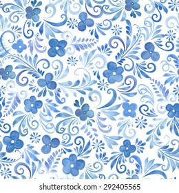 Watercolor Flowers seamless pattern. Vector Floral Background for your design
