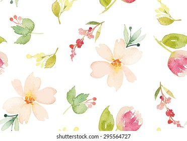 Watercolor flowers. Seamless pattern. Vector. Illustration. Gentle