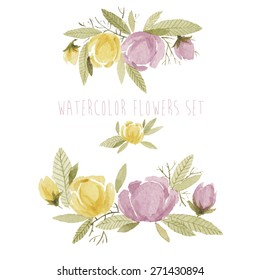 watercolor flowers set. can be used for greeting cards, party invitations or wedding invitations