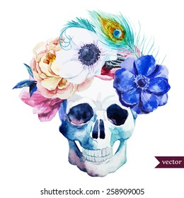 watercolor, flowers, skull, peony, anemone, feathers, boho
