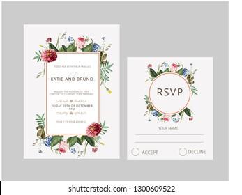 Watercolor Flowers wedding invitation rsvp card