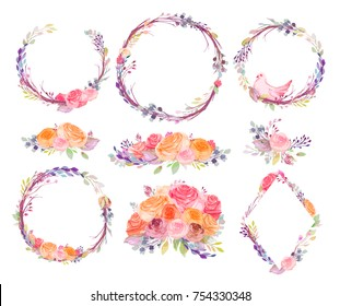 Watercolor flowers,leaves,branches,isolated on white. Sketched wreath,pigeons,envelopes,bottle,hearts for romantic,wedding,valentines day design. Handdrawn Vector,imitation of Watercolour style