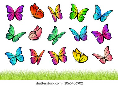 Watercolor flying butterflies isolated on transparent background with seamless grass border. Pretty vector butterfly set with spring palette for child. Decoration elements.