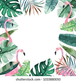 Watercolor frame with tropical jungle leaves and pink flamingo.Vector aloha illustration. Watercolor style