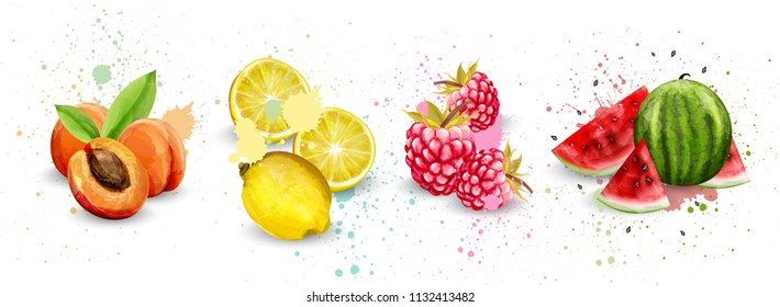 Watercolor fruits set Vector. Apricot, lemon, raspberry and watermelon delicious illustration