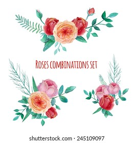 Watercolor garden roses combinations. Set of floral posies with english roses, plants and  branches. Vector hand drawn illustration