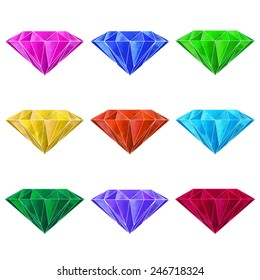 Watercolor gems, jewel stone, diamond, crystal set closeup isolated on a white background