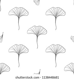 watercolor ginkgo leaves vector illustration