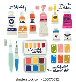 Watercolor, gouache, oil and acrylic paints in tubes. Flat style watercolor travel kit in tin box and water brushes. Set of hand drawn art supplies icons for art studio, creative workshops and stores.