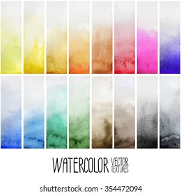 Watercolor gradient rectangles. Multicolor design elements isolated on white background