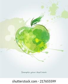 Watercolor green apple illustration