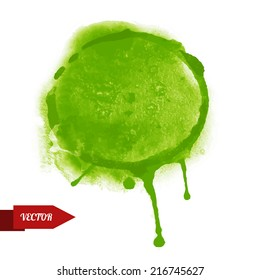 Watercolor green circle paint stain isolated on a white background