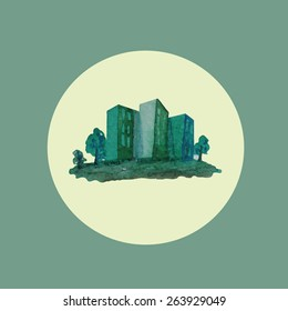 Watercolor green city, buildings, eco icon, logo isolated