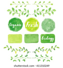 Watercolor green logos set, ribbons, painting spots, splashes, badges, squares. Sign label, textured emblem. Bio product, eco friendly, farm fresh, raw food, homegrown product.