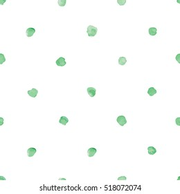 Watercolor green polka dot seamless pattern. wrapping paper design vector illustration
