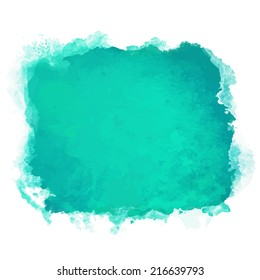 Watercolor green square paint stain isolated on a white background - vector