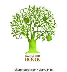 Watercolor green tree with hunging books. Find your book