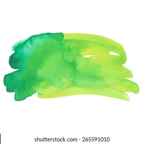 Watercolor green yellow hand drawn paper texture isolated macro stain on white background. Wet brush painted stroke striped abstract vector illustration. Art design element for banner, template, print