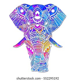 Watercolor Greeting card with elephant Frame of animals vector illustration design template for textile Hand drawn bright prints on T shirts and cups canvas of another object