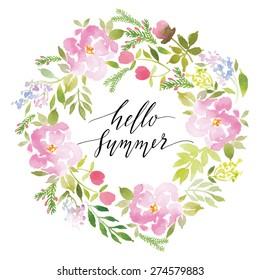 Watercolor greeting card flowers. Handmade. Congratulations. Hello Summer