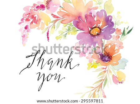 Watercolor Greeting Card Flowers Handmade Thank Stock Vector