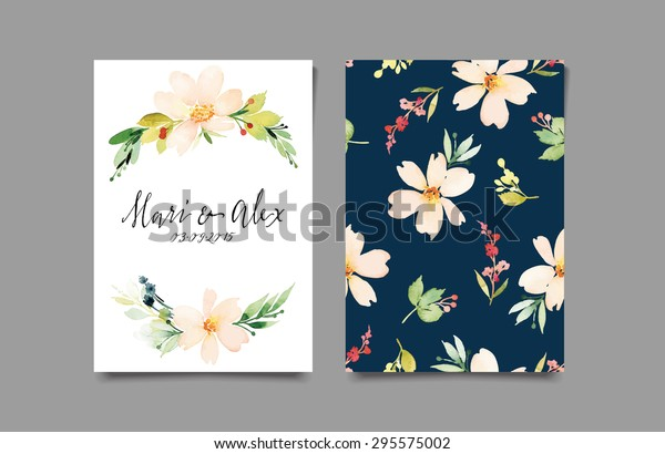 Watercolor Greeting Card Flowers Handmade Congratulations Stock Vector Royalty Free 295575002