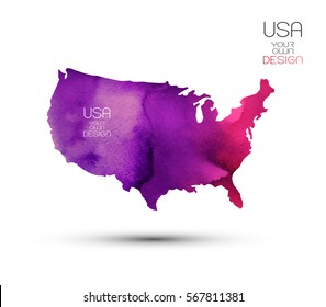 Watercolor grunge texture map-Usa