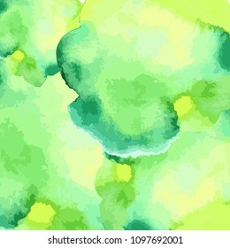Watercolor hand draw vector background. Colorful green yellow and white artistic wallaper