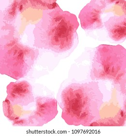 Watercolor hand draw vector background. Colorful red rose pink and white artistic wallaper