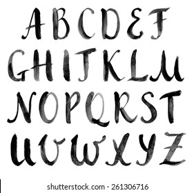 Watercolor hand drawn alphabet, capitals. Vector illustration. Brush painted letters.