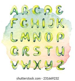Watercolor hand drawn alphabet on watercolor multicolored spot