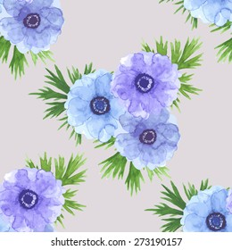 Watercolor hand drawn anemone flowers. Floral pattern or background