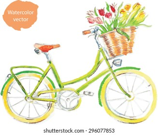 Watercolor hand drawn bicycle - vector Illustration