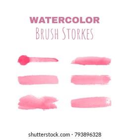 Watercolor hand drawn brush strokes